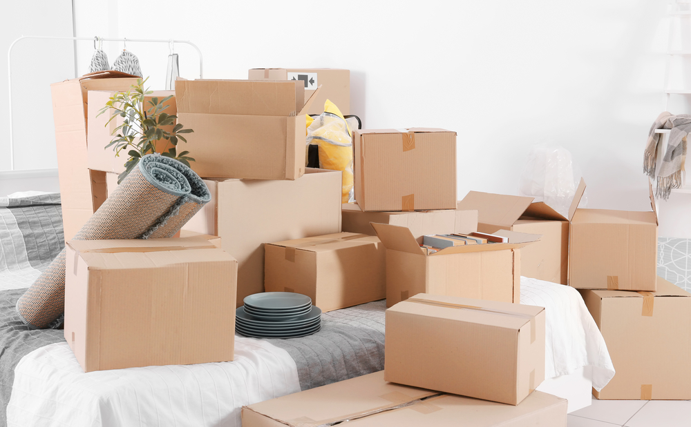 boxes packed during a downsize
